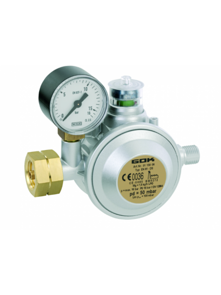 Газовий двухкамерний регулятор низького тиску GOK EN61-DS 1,5 кг/год 29 (30) мбар Komb.AxG1/4LH-KN
