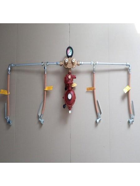 Рампа пропанова на 4 балона 12кг/год 37-50 mbar RST (автоматична робочий та резервний), комплект