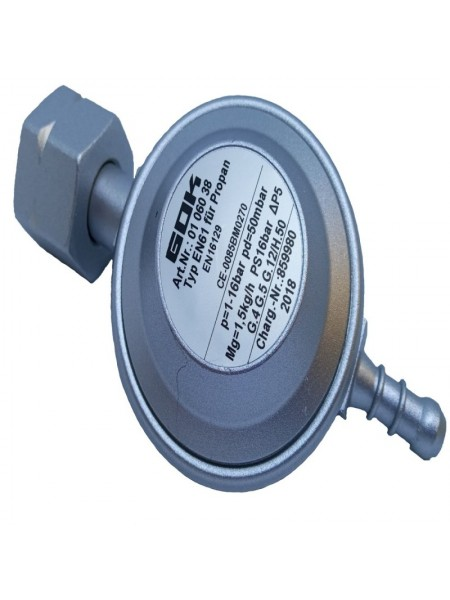 Газовий регулятор низького тиску GOK EN61 1,5 кг/год 50 мбар Komb.Ax 8-9мм